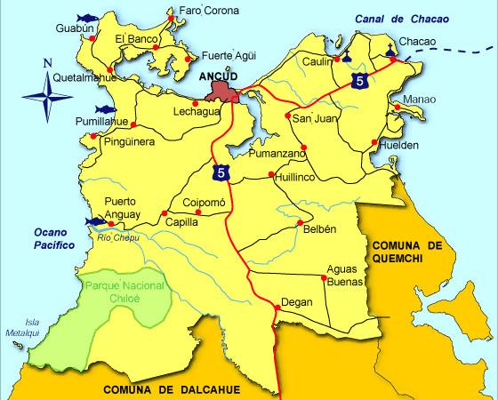 mapa como llegar a ancud chiloe
